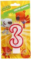 Купить Веселый праздник Свеча для торта Ми-ми-мишки Цифра 3, Сервировка праздничного стола