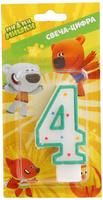 Купить Веселый праздник Свеча для торта Ми-ми-мишки Цифра 4, Сервировка праздничного стола