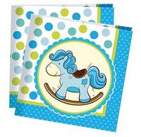 Купить Пати Бум Салфетки Лошадка Малыш цвет голубой 20 шт, Сервировка праздничного стола
