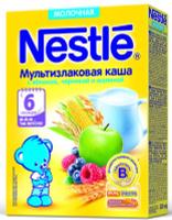 Купить Nestle мультизлаковая с яблоком, черникой и малиной каша молочная, 220 г, Детское питание