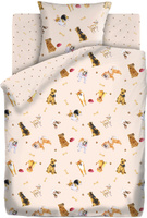 Купить Комплект белья Непоседа Собачки , 1, 5-спальный, наволочки 70x70, цвет: бежевый, Постельное белье