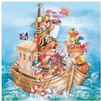 Купить Салфетки Pol-Mak Daisy Веселые пираты , трехслойные, 33 х 33 см, 20 шт, Сервировка праздничного стола