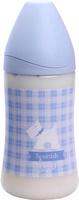 Купить Бутылка Suavinex 270мл SCOTTISH с силиконовой анатом. соской, блед. голубой, принт бел. собачка, Бутылочки