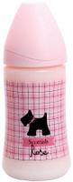 Купить Бутылка Suavinex 270мл SCOTTISH с силиконовой анатом. соской, блед. розовый, принт чер. собачка, Бутылочки