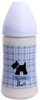 Купить Бутылка Suavinex 270мл SCOTTISH с силиконовой анатом. соской, блед. голубой, принт черн. собачка, Бутылочки