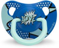 Купить Пустышка Suavinex от 18мес Baby Art анатомическая силиконовая, сине-голубой LOVE, Пустышки