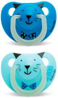 Купить Пустышка Suavinex от 6 до 18мес Night&Day 2шт. анатомическая силиконовая, светится в темноте, голубой/синий, Пустышки