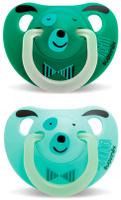 Купить Пустышка Suavinex от 6 до 18мес Night&Day 2шт. анатомическая силиконовая, светится в темноте, св.зелен/зелен, Пустышки