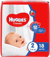 Купить Huggies Подгузники Classic 3-6 кг (размер 2) 18 шт