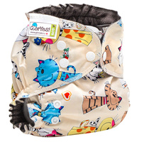 Купить GlorYes! Многоразовый подгузник Optima Коты на бежевом 3-18 кг + два вкладыша, Подгузники и пеленки