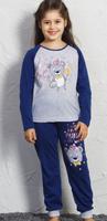 Купить Комплект домашний для девочек Vienetta's Secret Мишка художник: футболка с длинным рукавом, брюки, цвет: серый меланж. 705162 0000. Размер 92, Одежда для девочек