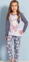 Купить Комплект домашний для девочек Vienetta's Secret Веселая овечка: футболка с длинным рукавом, брюки, цвет: серый меланж. 708135 3124. Размер 146/152, Одежда для девочек
