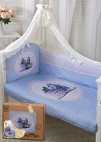 Купить Золотой Гусь Комплект в кроватку Зайка с часиками 7 предметов цвет голубой 60 x 120 см, Постельное белье