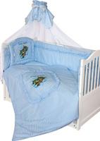 Купить Золотой Гусь Комплект белья в кроватку Аленка 7 предметов цвет голубой 60 см x 120 см, Постельное белье