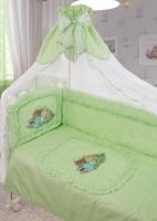Купить Золотой Гусь Комплект белья в кроватку Аленка 7 предметов цвет зеленый 60 см x 120 см, Постельное белье