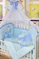Купить Золотой Гусь Комплект белья в кроватку Кошки-мышки 7 предметов цвет голубой 60 см x 120 см, Постельное белье