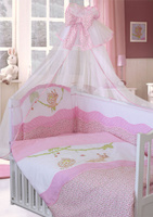 Купить Золотой Гусь Комплект белья в кроватку Улыбка 7 предметов цвет розовый 60 см x 120 см, Постельное белье