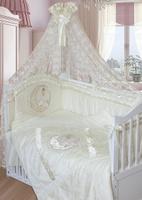 Купить Золотой Гусь Комплект белья в кроватку Консуэло 8 предметов цвет молочный 60 см x 120 см, Постельное белье
