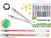 Купить Schreiber Набор гелевых ручек Металлик с блестками 10 цветов, Ручки