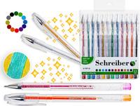 Купить Schreiber Набор гелевых ручек Металлик с блестками 12 цветов, Ручки