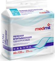 Купить Medmil Пеленка впитывающая одноразовая Оптима 60 х 120 см, 25 шт, Подгузники и пеленки