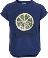 Купить Футболка для девочки Button Blue, цвет: темно-синий. 118BBGC12021000. Размер 98, Одежда для девочек