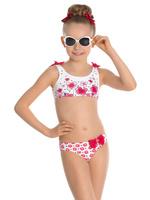 Купить Купальник раздельный для девочки Arina Nirey, цвет: белый, красный. GR 031803. Размер 92/98, Одежда для девочек