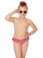 Купить Купальные плавки для девочки Arina Nirey, цвет: красный, белый. GP 051801. Размер 92/98, Одежда для девочек