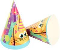 Купить Веселый хоровод Набор колпаков Разноцветные котики 20 см 6 шт, Колпаки и шляпы