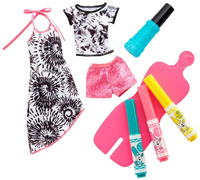 Купить Barbie Игровой набор с куклой Crayola Сделай моду сам цвет бирюзовый розовый желтый, Куклы и аксессуары