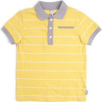 Купить Поло для мальчика PlayToday, цвет: желтый, светло-серый, белый. 181160. Размер 128, Одежда для мальчиков