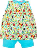 Купить Комплект одежды для девочки Let's Go: майка, шорты, цвет: белый, светло-бирюзовый. 4130. Размер 74, Одежда для девочек