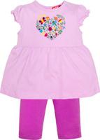 Купить Комплект одежды для девочки Let's Go: футболка, бриджи, цвет: лиловый, фиолетовый. 4132. Размер 74, Одежда для девочек