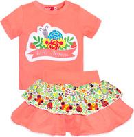 Купить Комплект одежды для девочки Let's Go: футболка, юбка, цвет: розовый. 4131. Размер 74, Одежда для девочек