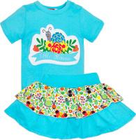 Купить Комплект одежды для девочки Let's Go: футболка, юбка, цвет: светло-бирюзовый. 4131. Размер 74, Одежда для девочек