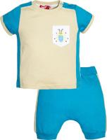 Купить Комплект одежды для мальчика Let's Go: футболка, шорты, цвет: бежевый, бирюзовый. 4227. Размер 74, Одежда для мальчиков
