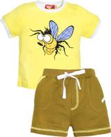 Купить Комплект одежды для мальчика Let's Go: футболка, шорты, цвет: желтый, оливковый. 4228. Размер 74, Одежда для мальчиков