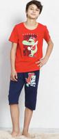 Купить Пижама для мальчика Vienetta's Secret Динозавр, цвет: брусничный, синий. 708105 0000. Размер (98/110), 3-4 лет, Одежда для мальчиков