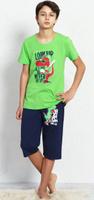 Купить Пижама для мальчика Vienetta's Secret Динозавр, цвет: зеленый, синий. 708105 0000. Размер (98/110), 3-4 лет, Одежда для мальчиков