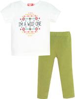 Купить Комплект одежды для девочки Let's Go: футболка, лосины, цвет: белый, хаки. 4144. Размер 74, Одежда для новорожденных