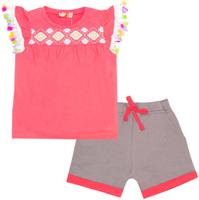 Купить Комплект одежды для девочки Let's Go: футболка, шорты, цвет: ярко-розовый, темно-серый. 4124. Размер 74, Одежда для новорожденных