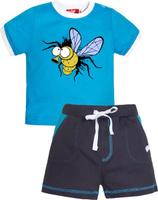 Купить Комплект одежды для мальчика Let's Go: футболка, шорты, цвет: бирюзовый, серый. 4228. Размер 74, Одежда для мальчиков