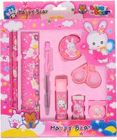 Купить Канцелярский набор цвет розовый 9 предметов 299501, NoName, Канцелярские наборы