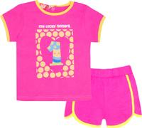 Купить Комплект одежды для девочки Let's Go: футболка, шорты, цвет: малиновый. 4117. Размер 74, Одежда для новорожденных