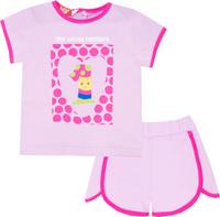 Купить Комплект одежды для девочки Let's Go: футболка, шорты, цвет: светло-сиреневый. 4117. Размер 74, Одежда для новорожденных