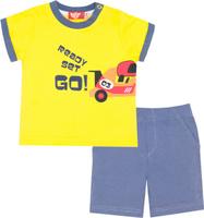Купить Комплект одежды для мальчика Let's Go: футболка, шорты, цвет: желтый, серый. 4217. Размер 74, Одежда для новорожденных