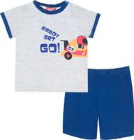 Купить Комплект одежды для мальчика Let's Go: футболка, шорты, цвет: серый, темно-синий. 4217. Размер 74, Одежда для новорожденных