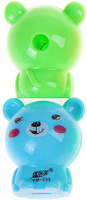 Купить Набор точилок с контейнером Мишка цвет голубой зеленый 2 шт 835100, Чертежные принадлежности