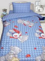 Купить Комплект белья Mona Liza Teddy Ded , 1, 5 спальный, цвет: голубой, наволочка 50х70 см, Постельное белье