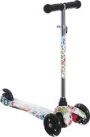 Купить Самокат детский 1 Toy Цветы , трехколесный, со светящимися колесами, с регулируемой ручкой, цвет: белый, 1TOY, Самокаты